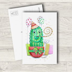 Postcard Birthday cactus