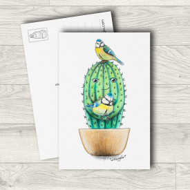 Postcard Cactus and birds