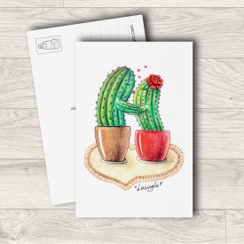 Postcard Cactus kiss