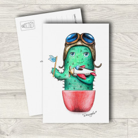 Postcard Cactus with airplane