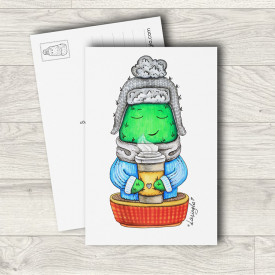 Postcard Cactus with coffee
