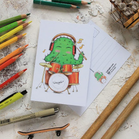 Postcard Cactus with drums
