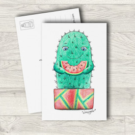 Postcard Cactus with watermelon
