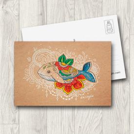 Postcard Flower Whale