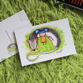Postcard Girl and her rat