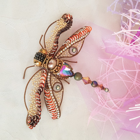 Brooch Autumn dragonfly