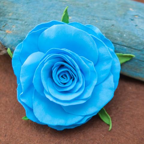Brooch Blue rose