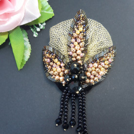 Brooch Black Lotos