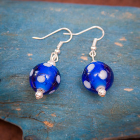 Earrings Blue dots