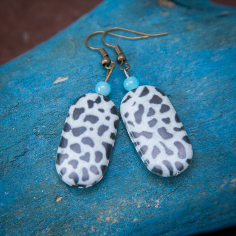 Earrings Snow leopard