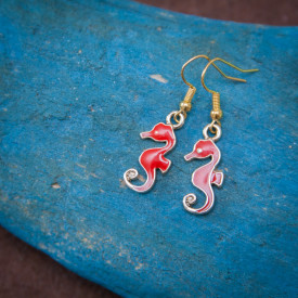 Earrings Red hippocampus