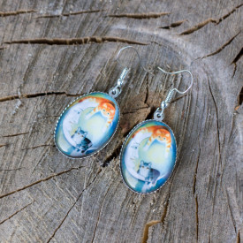 Earrings Moon cats