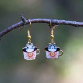 Earrings Tea cat